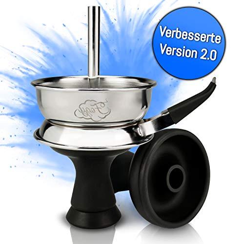 Shisha Kopf Set mit Kaminaufsatz – Hochwertiger Silikonkopf für dichten Rauch – Einfacher Kopfbau dank Phunnel Silikon…