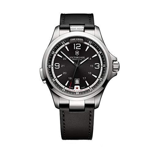 Victorinox Men's Night Vision Titanium Swiss-Quartz Watch with Rubber Strap, Black, 21 (Model: 241664)