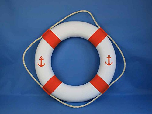 Classic White Decorative Anchor Lifering With Orange Bands 30''- Decorative Life
