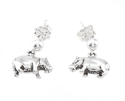 Silver Hippo - Sterling Silver Oxidized Hippopotamus Hippo Dangle Earrings