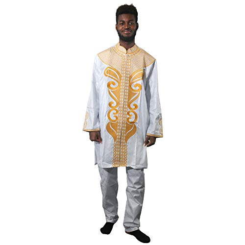 (HD Bazin Riche Clothing, African Traditional Costume Embroidery Patterns Loose Sleeves Dashiki Dress Men)
