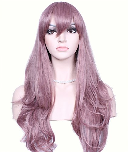 Deifor 23 inch Long Curly Big Wave Heat Resistant Synthetic Hair Cosplay Wigs (Purple Rose Gold)