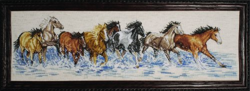 - Design Works Crafts 2499 Splashdown Horses Counted Cross Stitch Kit, 8