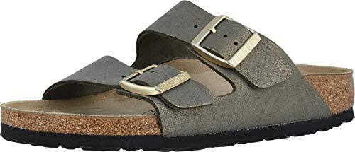 Birkenstock Women's Arizona Sandal Washed Metallic Stone Gold Size 40 N EU