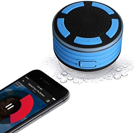 Waterproof Bluetooth Audio system, Kuccer Ipx7 Waterproof Wi-fi Transportable Bluetooth Audio system with Fm Radio & Suction Cup & Mild Present for Bathe,Loud Hd Sound, Pool, Journey, Outside (Blue)