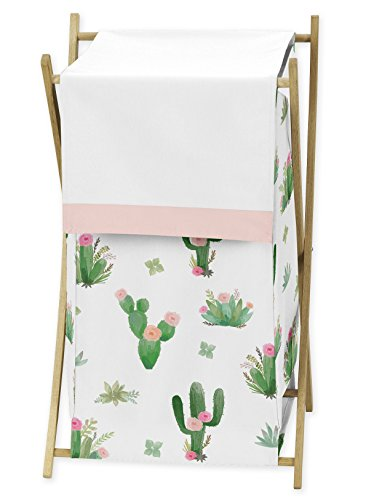 Pink and Green Boho Watercolor Baby Kid Clothes Laundry Hamper for Cactus Floral Collection by Sweet Jojo Designs by Sweet Jojo Designs