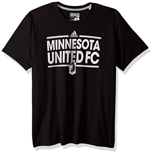 adidas MLS Minnesota United Adult Men Dassler City Nickname Go-to Performance Tee, Large, Black