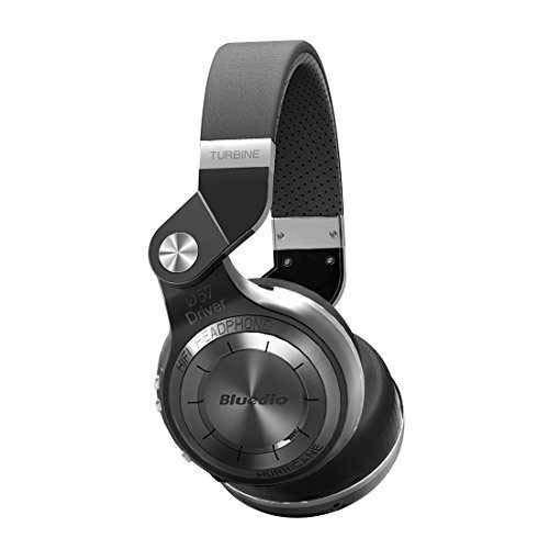 Bluedio T2 Plus Turbine Wireless Bluetooth Headphones with Mic/Micro SD Card Slot/FM Radio (Black)
