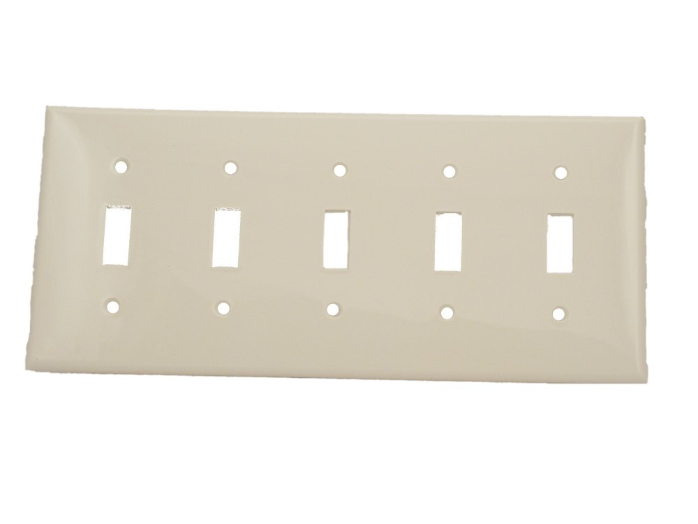 Leviton 80723-W 5-Gang Toggle Device Switch Wallplate, Standard Size, Thermoplastic Nylon, Device Mount, White