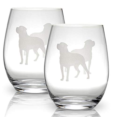 Rottweiler Stemless Wine Glasses (Set of 2)   Unique Gift for Dog Lovers   Hand Etched with Breed Name on Bottom
