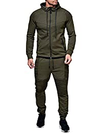 Men's 2 Piece Tracksuits Pleated Jogger Pants + Long Sleeve Zipper Hoodie Solid Color Sports Suit