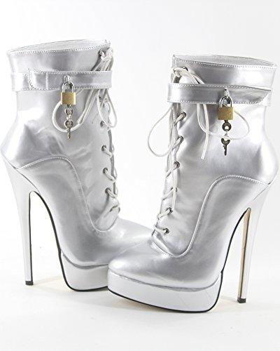 WONDERHEEL stiletto Silber Lackleder fetisch padlocks Plateau Kurzschaft stiefel