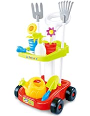 Garden toy cart for kids with gardening tools | Educational toys for children | 23' Tall wheeled cart trolley | pretend play toys for kids | two shelves | 2 Rakes, 2 Flower Pots, Watering Spray Bottle, Scissor, Flower Watering Pot, and Shovel