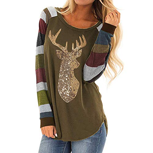 Clearance Forthery Womens Casual Stripe Christmas Reindeer Sequin T Shirt Blouse -