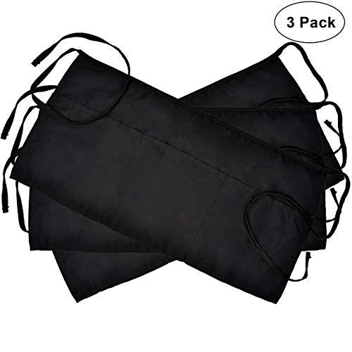 3 Pockets Cotton Waist Apron 3 Pack 24 x 12 inch Kitchen Restaurant Bistro Craft Garden Half Short Aprons For Men, Women, Chef, Baker, Servers, Waitress, Waiter, Craftsmen Work Apron Uniform, Black