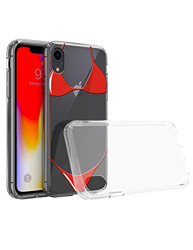 iPhone XR case Red Bikini 1.5mm Thicken Drop-Proof Clear Crystal Soft Shell for Apple 6.1 inches Cover