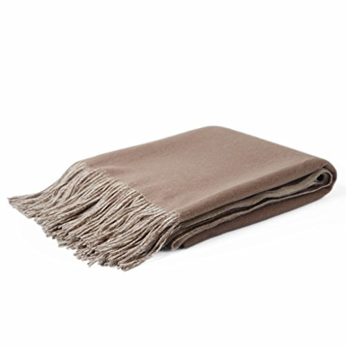 CUDDLE DREAMS Pure Lambwool Throw Blanket with Fringe, Super Soft (Tow-tone, Taupe/ - Skin Or Tone Cool Warm