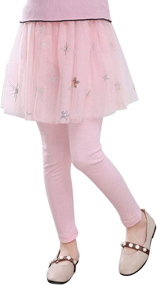 OCHENTA Girls Tulle Gauze Printed Tutu Skirt with Legging One Piece
