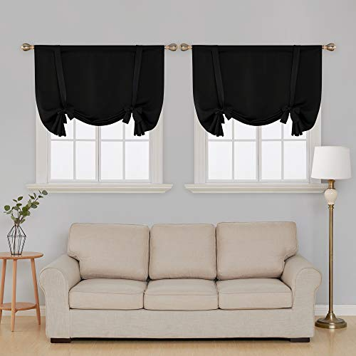 Deconovo Blackout Curtains Rod Pocket Small Window Curtains Tie Up Curtains for Bedroom Black 42W x 63L 2 Panels