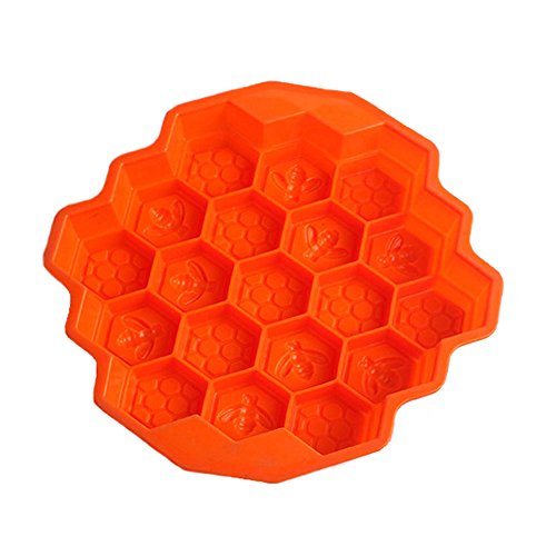 KISEER Large Honeycomb Silicone Soap Mold | 19-Hole Baking Cake Mold Bakeware for Family or Friends Party (Orange, 12-Inch) -