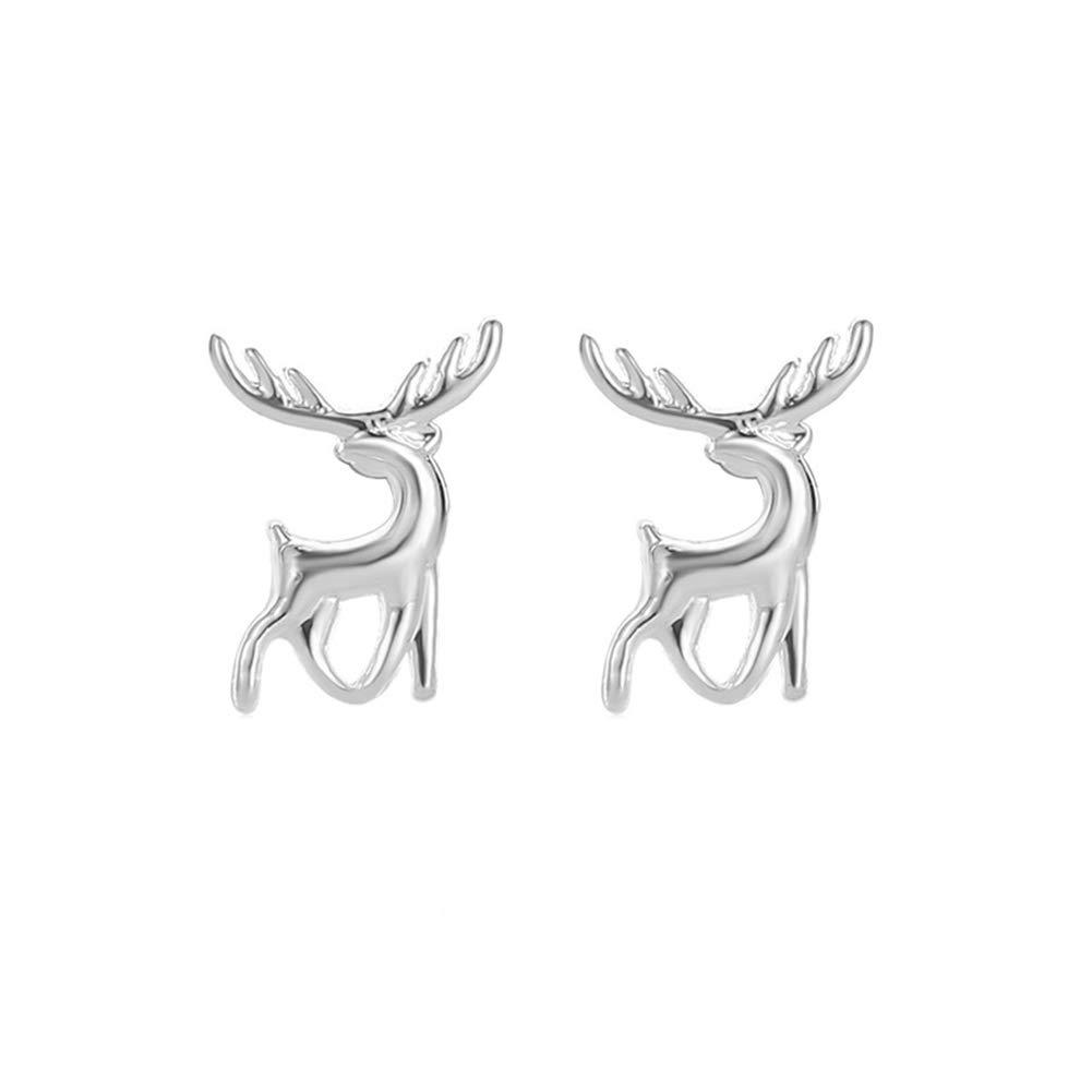 Fashion Christmas Deer Elk Plating Ear Stud Earrings Women Jewelry Accessory - Silver