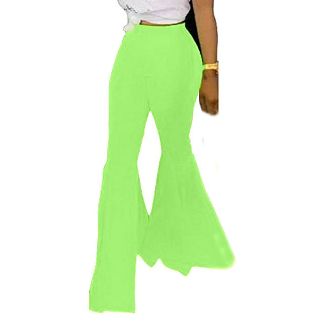 Women Ruffle Flare Pants Casual Stylsih Solid Color High Waist Elastic Waist Slim Fit Wide Leg Long Pants Flounce Bottom Party Slim Fit Trouser