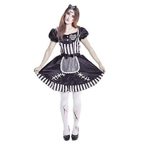 Zombie Clown Costume Uk (Womens Zombie Doll Puppet Fancy Dress Costume Costume,Med 6 - 8 US,Black)
