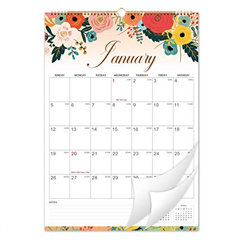"""2020-2021 Calendar - 18 Monthly Wall Calendar with Thick Paper, 12"""" x 16.6"""", Twin-Wire Binding with Hanging Hook, January 2020 - June 2021 with Julian Date - Floral"""