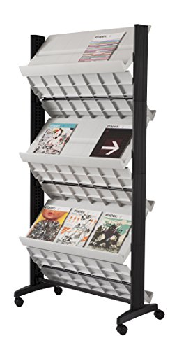 Price comparison product image PaperFlow Double Sided Mobile Literature Display, 6 Shelves, 33.67x15.17x66 Inches, Gray (252N.02)