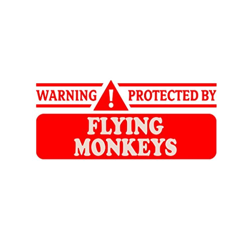 WARNING! PROTECTED BY FLYING MONKEYS Car Laptop Wall Sticker