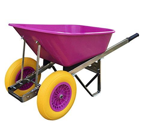 Wheelbarrow 120L Double Wheel Pink Puncture-Proof