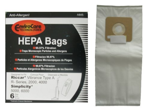 EnviroCare Replacement HEPA Vacuum Bags for Riccar 2000, 4000 and Vibrance Series. Simplicity 5000, 6000 and Symmetry Type A 12 -