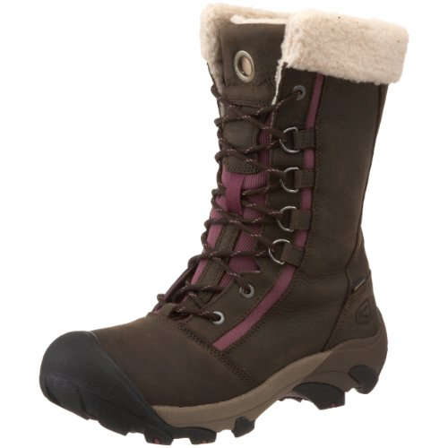 KEEN Women's Hoodoo High Lace WP Faux Shearling Winter Boot,Slate Black/Grape Nectar,7 M US