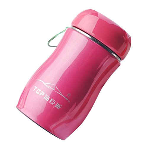 Water Bottle,Chartsea Portable Stainless Steel Candy Color Travel Thermal Bottle 230ML (Hot pink) ()
