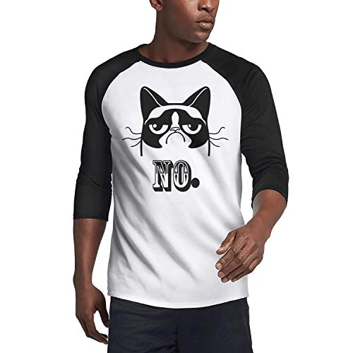 Yahghtsrt Men's3/4 Sleeve t Shirts Grumpy cat no Cute Mens Guys O-Neck Cotton Black tee Shirts -