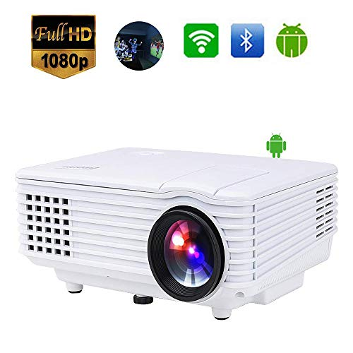 Mengen88 Android WiFi Wireless Movie Projector, LED Mini Portable Projector Full HD Video Support 1080P for Home Cinema…