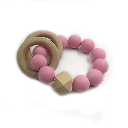 Price comparison product image Amyster DIY Baby Teether Nursing Bracelet Food Grade Silicone Teether Wooden Teether Ring Teether Nature Safe Organic Infant Baby Bangle Teether Toys