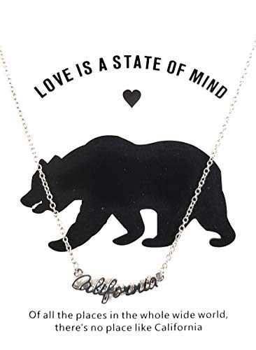 California Love is A State of Mind Necklace Pendant by J&W Boutique Collection (Silver)
