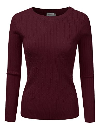 DRESSIS Womens Long Sleeve Round Neck Buttoned Shoulder Cable Knit Sweater Burgundy M