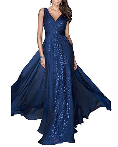 Mujer Elegante Sin Mangas V Cuello Largos Vestidos De Cóctel Noche Fiesta Boda Gala Ceremonia Azul