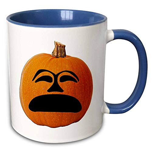(3dRose Sandy Mertens Halloween Food Designs - Jack o Lantern Unhappy Sad Face Halloween Pumpkin, 3drsmm - 15oz Two-Tone Blue Mug)