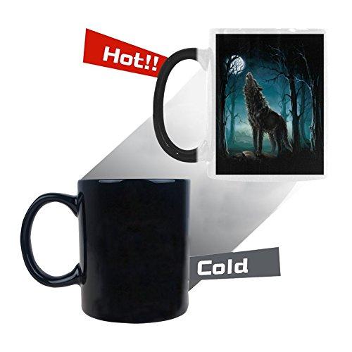 (InterestPrint 11oz Werewolf Wolf in Forest Howling to the Moon Heat Sensitive Mug Color Changing Mug Morphing Coffee Travel Mug Tea Cup Funny, 11oz Ceramic Mug)