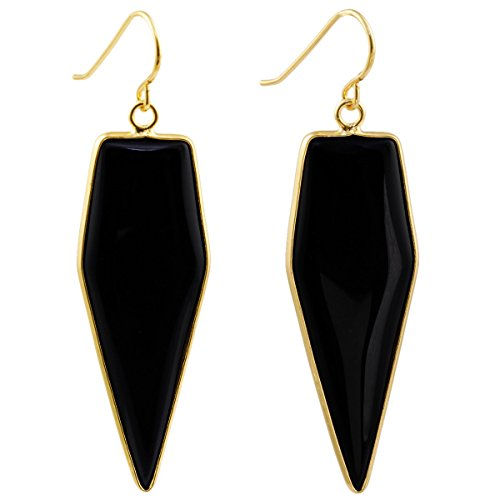 SUNYIK Women's Black Agate Healing Point Dangle Earrings - Basic Black Earrings