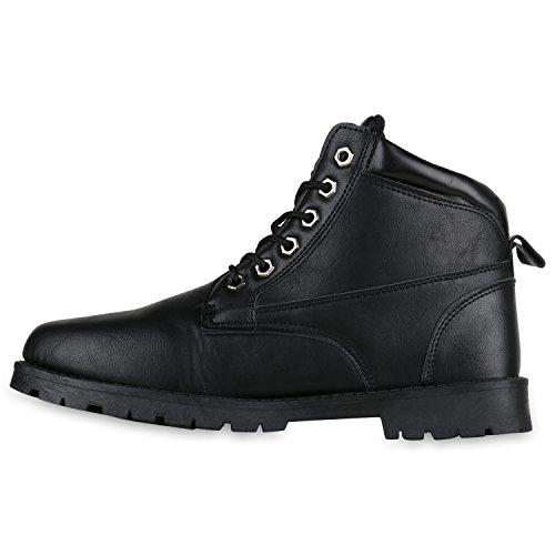 Stiefelparadies Gefüttert Herren Worker Boots Schnürstiefel Schuhe Profilsohle Flandell Schwarz Camiri