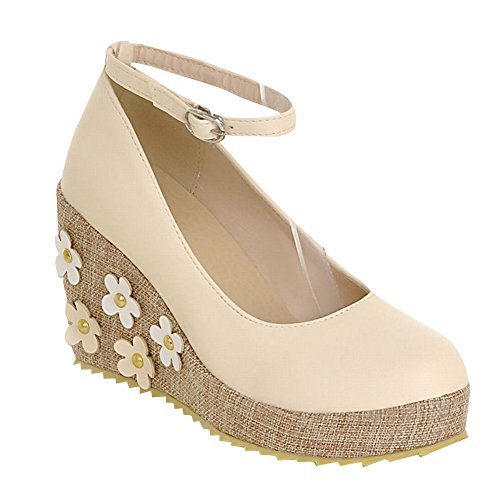 Carol Shoes Women's Sweet Princess Wedge High Heel Appliques Mary Jane Shoes Beige 1sqhMl8D