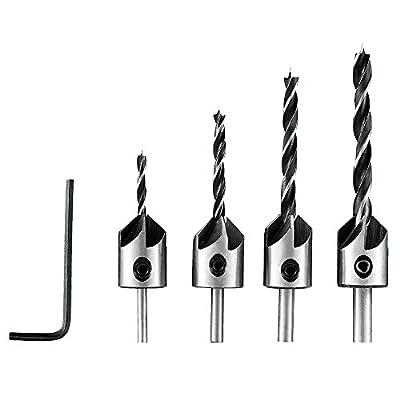 4PCS(3/4/5/6mm) Set Woodworking Countersink Drill Set Adjustable Carpentry Reamer Length Drill Bit