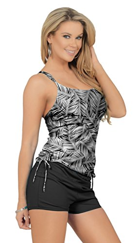 Womens Two Piece Drawstring Tankini Extra Coverage Boyshorts Bikini Swimsuit Set