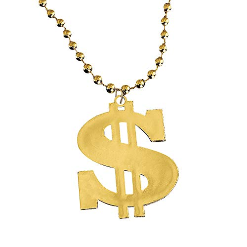 Fun Express - Plastic Metallic Dollar Sign Necklaces - Jewelry - Mardi Gras Beads - Misc Mardi Gras Beads - 12 -