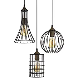 "Kira Home Wyatt 11.5"" Rustic Industrial 3-Light Multi-Pendant Chandelier + Metal Shades, Cage Design, Adjustable Wire, Oil-Rubbed Bronze Finish"
