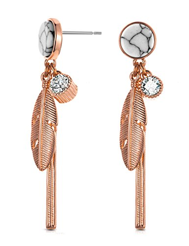 XZP Made with White Howlite CZ Bar Rose Gold Earrings Metal Small Feather Drop Earrings for Women